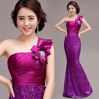 Cii purple shoulder fishtail trailing evening dress long section