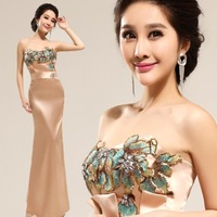 Cii nude pink diamond Bra Long Engagement toast dress fishtail evening dress