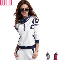 Women Stand Collar Casual Hooded+Pants Suit Plus Size Sportswear Set Hoodies Sweater Suit Sweatshirt Free Shipping By HK Post