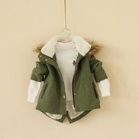 Kids boys casual cotton hooded fur collar cashmere coat C0904-66