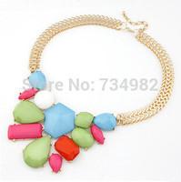 2014 New Design Irregular resin box stitching exaggeration Necklace Fashion Pendants Necklace Statement Jewelry Choker For Women