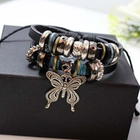 Min.order is $10 Charm Leather Bracelet Star Favorite Beaded Bracelet Punk Leather Bracelet Newest Warp Shamballa Bracelet