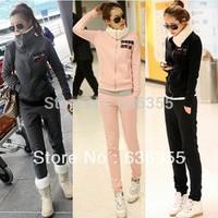 Bestselling 2014 Fall Winter Women Casual Sport Suit Twinset Hoodie+Pants Thicken Berber Fleece Sportswear Lady's Sweatshirt Set