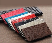 New Arrival Slim Crocodile Wallet Book Leather Case Stand Case with Card slot for Samsung Galaxy Note 3 N9000, 7 Color,10pcs/lot