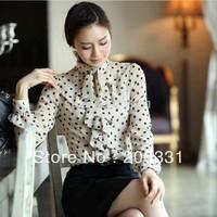 2014 Fashion shirts women's plus size Chiffon Long -sleeve Shirt  Dot top women's Formal Blouse