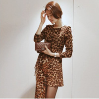 New Fashion 2013 Autumn Long Sleeve Leopard Women Dress Free Shipping