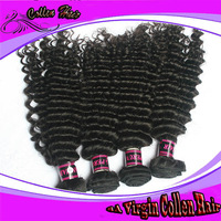 6A Collen Hair Peru curly hair deep wave Curly Real hair 3pc lot Free Shipping 12-28inch in Stcok Best Quality #1b