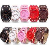 Geneva Wholesale women wristwatches ladies fashion leather strap quartz watch Women watches FS120