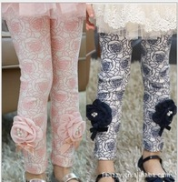 (100-140cm)5pcs/lot autumn baby girls' cotton rose floral print leggings big flower panty with ribbon bow   red,blue