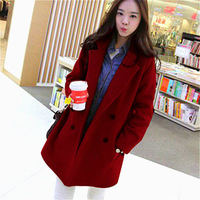Free shipping 2014 new women with a hood wool woolen overcoat thick outerwear loose plus size xl autumn and winter female mm