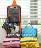 Free shipping 150pcs/lot  Travel Check Waterproof Storage Cosmetic Bag Picnic Sorting Hanging Wash BagKore MakeUp Organizer Case