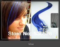 "12""16""18""20""22""24""loop hair extensions  Loop Ring Human Hair Extensions 1g/strand 100 shares  Blue"