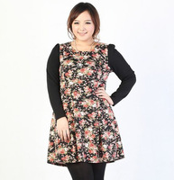Fat Women Floral skirt plus Size Dress long sleeve O-neck dress Large big Size Clothing 2013 new spring autumn fashion