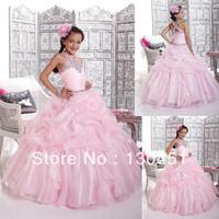 cinderella dress halter pink organza rhinestone decorations organza ruched tiered floor length long  girl prom dresses
