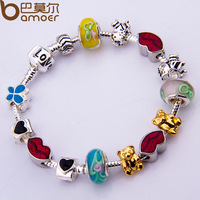 Dropping Shipping European 925 Silver Charm Love Chain Bracelet & Bangle for Women With Murano Glass Beads DIY Jewelry PA1053