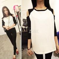2014 Korean Fashion Women's Top Casual Off Shoulder 1/2 Sleeve Cotton T-shirt 12209 #004