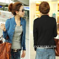 2014 Korean Women Female Long Sleeve Double Breasted Slim Peplum Autumn Cropped Jacket Coat Cardigan Big Size Free Shipping 0991