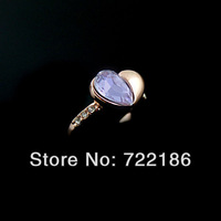 2013 New Hot Selling Christmas Gift Heart Shape Design Imitation Rhinestone Finger Rings For Women Jewelry