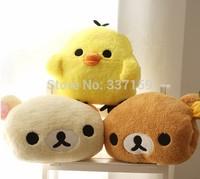 Free shipping 35x30cm plush rilakkuma/yellow chicken hand warmer pillow, stuffed animal cushion, happy birthday gift for girls