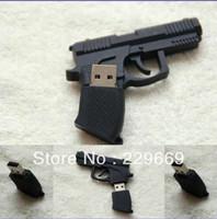 Free Shipping, New Cartoon Fashion Pistol usb 2.0 memory flash stick pen thumbdrive, usb flash drive 1-32GB