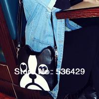 new 2014 women's handbag color block bag vintage shoulder bag sweet cartoon puppy package free shipping