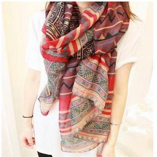 2014 Hot Selling Chiffon Voile Tribal Aztec Long Flower Print Bohemia Scarf SHawl Muslim Hijab For Women K46