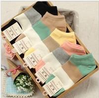 10pieces=5pairs=1lot wide stripe women boat socks cotton