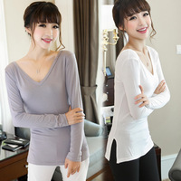 Autumn outfit new v-neck side split render unlined upper garment of cultivate one's morality modal female T-shirt