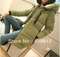 2013 women's straight medium-long solid color white goose down coat plus size