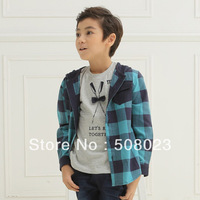 Korea style plaid jacket with hooded for boys (TBQ1305B31003)