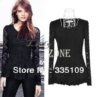 Hot sale Women's Casual Blouse Long Sleeve Hollow Floral Design Lace Sheer T-shirt Peplum Jumper Top Black/ White 10169