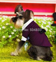 dogs tuxedo with bowtie pets wedding suit formal party clothes imitation 2pc style XS-XL blue purple