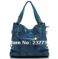 2013 serpentine pattern cowhide  leather tassel women's handbag women's handbag messenger bag