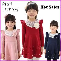 Retail new 2013 girl Autumn - summer Dress floral cotton long sleeve lace dresse collar pearls children dresses infant outerwear