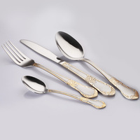 Top quality brand NEW 24 pcs Gold plated mirror polished stainless steel flatware cutlery sets dinnerware knife spoon fork Set