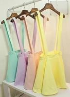 New Cute Lovely Womens Girls Candy Color Skirt Double Straps Wear Mini Dress strap Skirt