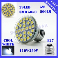 FREE SHIPPING AC110-250V 5050 SMD  Saving Lamp E14 Cool White   5W 500LM  29 LED Spotlight Corn Light Energy  3PCS/LOT#LE131