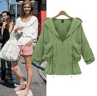 2014 New Style Fashion Lacing Waist Slim Jackets All-match Fashionable Casual Outerwear Coat Women Blazer Jacket Free shipping