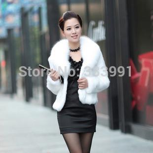Fur coat medium-long mink hair rex rabbit hair cape vest black and white fur overcoat imitation rabbit fur