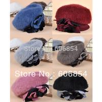 Fashion Women's Winter Warm Cute Flower Decoration Rabbit Fur Wool Beret Hat Cap # Free Shipping Promotion