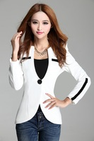 Latest Fashion suit jacket women 2014 elegant & slim one button patchwork, black/white, size M, L, XL, XXL
