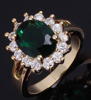 Fashion/Size 6 7 8 9 10 Jewelry Woman's NO87 Green Emerald 10KT Y w Gold  Ring Gift/Free Shipping