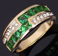 2013Jewelry  10KT Yellow Gold  Ring NO64 Size 6 7 8 9 Gift For Women Sapphire Emerald