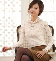 4XL Plus size Lace Top Women Fat Fashion Peal Big size Long sleeve Top blouse Basic shirt Elegant Korean Designer High Quality