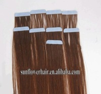 "6A virgin brazilian  tape hair extensions glue 40 pieces 20""  #1b #1 #2 #4 #6 #8 #10 #16 #22 #24 #27 #30 #33 #35 #613 #60"