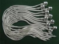 50pcs/lot 3MM Snake Bracelelt, Charm Bracelet 8inch,925 Stering Silver Plated Bracelelt Fit Pan Bracelet