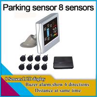 parking sensor with 8 sensors,colorful LCD display,show 6 directions distance,parking ,car parking system,8 sensors car parking