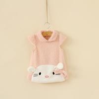 Kids Korean single girls cute cat pearl velvet princess Dresses 4J1-0914