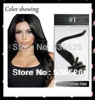 "Human Hair 22"" 24"" Brazilian remy Keratin nail tip hair/ U tip hair extension #1 Jet Black color 70gram/pack"