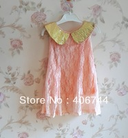FINAL SALE !!!  kids Gold collar lace dress,3-7 years,5pcs/lot,ALLL1